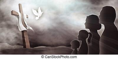 család, galamb, jámbor, árnykép, spirit., sötét, keresztény, arcél, lord, believers., látszó, háttér., horizontális, könyörgés, worship., cross., áldozat, emberek., feszület