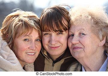 család, három, egy, portré, nemzedék, nők