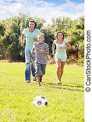 család, három, sportszerű