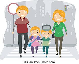 család, használ, a, gyalogos, sáv