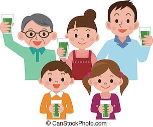 család, ivás, növényi juice