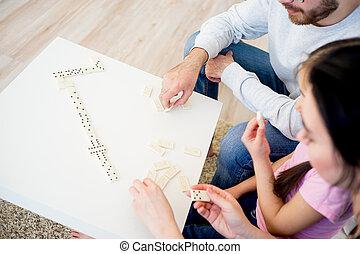 család, játék, dominó
