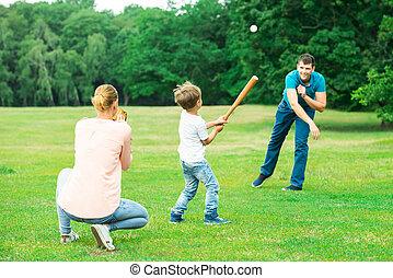 család, játék együtt, -ban, liget