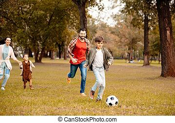 család, játék futball