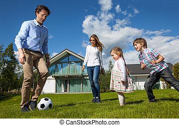 család, játék futball, kívül