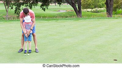 család, játék golf