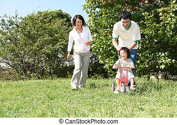 család, játék, három