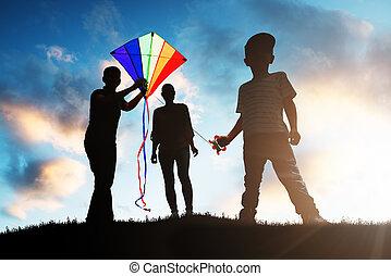 család, játék, noha, a, színes, papírsárkány