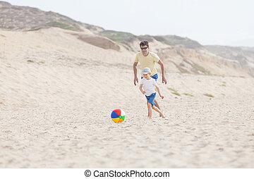 család, játék, noha, labda