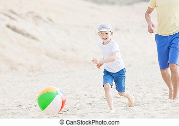 család, játék, noha, labda, tengerpart