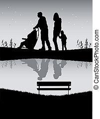 család, képben látható, egy, jár, képben látható, a, river.