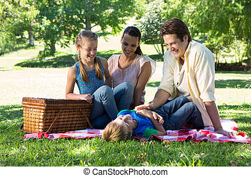 család, képben látható, egy, piknik, a parkban