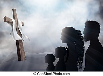 család, könyörgés, cross., sötét, arcél, keresztény, believers., árnykép, lord, áldozat, látszó, emberek., háttér., feszület, imádás