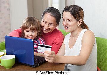 család, közül, 3 nemzedék, noha, laptop, kiegyenlít, által, hitelkártya, alatt, internet, bolt