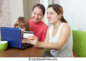 család, közül, 3 nemzedék, vásárol online, noha, laptop
