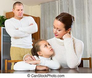 család, közül, három, birtoklás, konfliktus