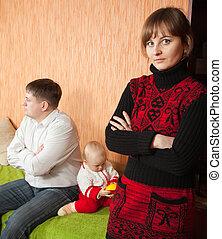 család, közül, három, birtoklás, vita