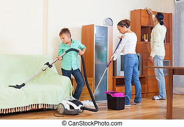 család, közül, három, cselekedet, takarítás