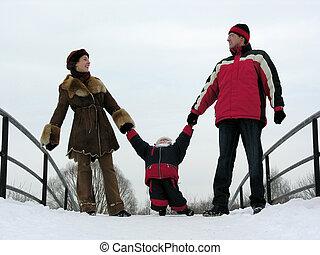 család, közül, három, képben látható, tél