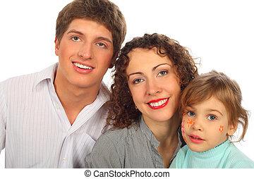 család, közül, három, noha, csekkszámlák, képben látható, gyermek, arc