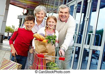 család, közül, shoppers