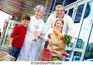 család, közül, vásárlók