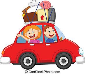 család, karikatúra, utazó, noha, autó