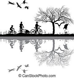 család, kerékpározás, környék