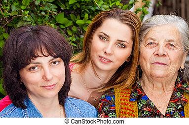 család, -, lány, lányunoka, és, nagyanya
