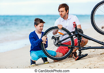 család, megjavítás, bicikli