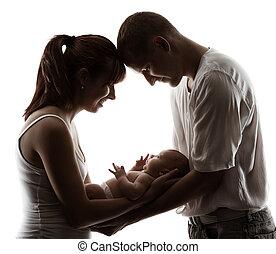 család, noha, újszülött, baby., szülők, árnykép, felett,...