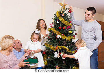 család, noha, díszes, karácsonyfa