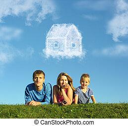 család, noha, fiú, képben látható, fű, és, álmodik, felhő, épület, kollázs