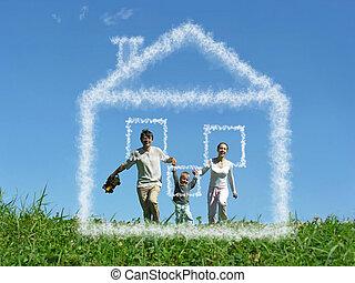család, noha, fiú, képben látható, kaszáló, és, álmodik, felhő, épület, kollázs
