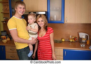 család, noha, fiú, képben látható, konyha