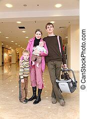 család, noha, gyerekek, alatt, bolt