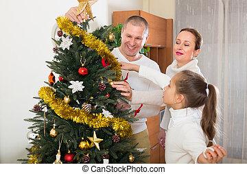 család, noha, karácsonyfa, otthon