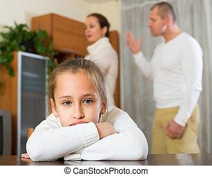 család, noha, lány, birtoklás, konfliktus