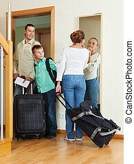 család, noha, poggyász, folytatódik holiday