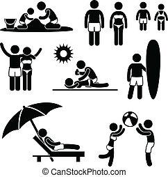 család, nyár, tengerpart holiday, szabad