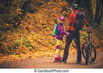 család, outdoor activities
