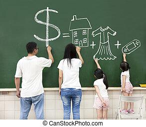 család, pénz jelkép, játék, video, chalkboard, épület, rajz,...