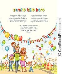 család, park., hirdetés, brosúra, szórakozás, boldog