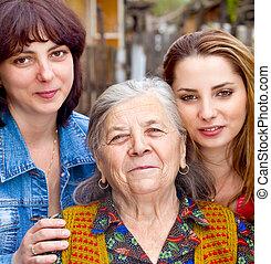 család portré, -, lány, lányunoka, és, nagyanya