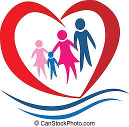 család, szív, jel, vektor