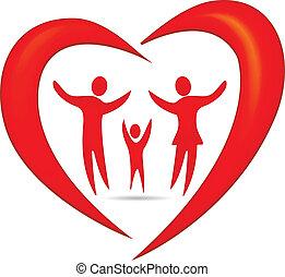 család, szív, jelkép, vektor