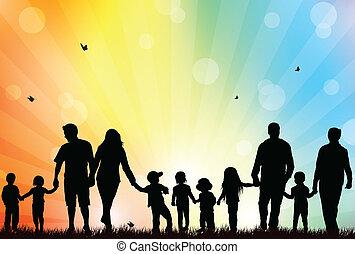 család, szabadban