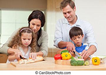 család, szeletelés, alkatrészek