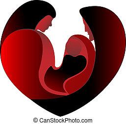 család szeret, alatt, egy, nagy, szív