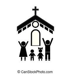 család, templom